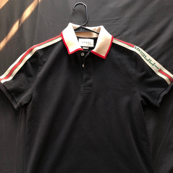 22bbcab5 Gucci Shirts | Technical Logo Ribbon Polo Men Black Size M | Poshmark